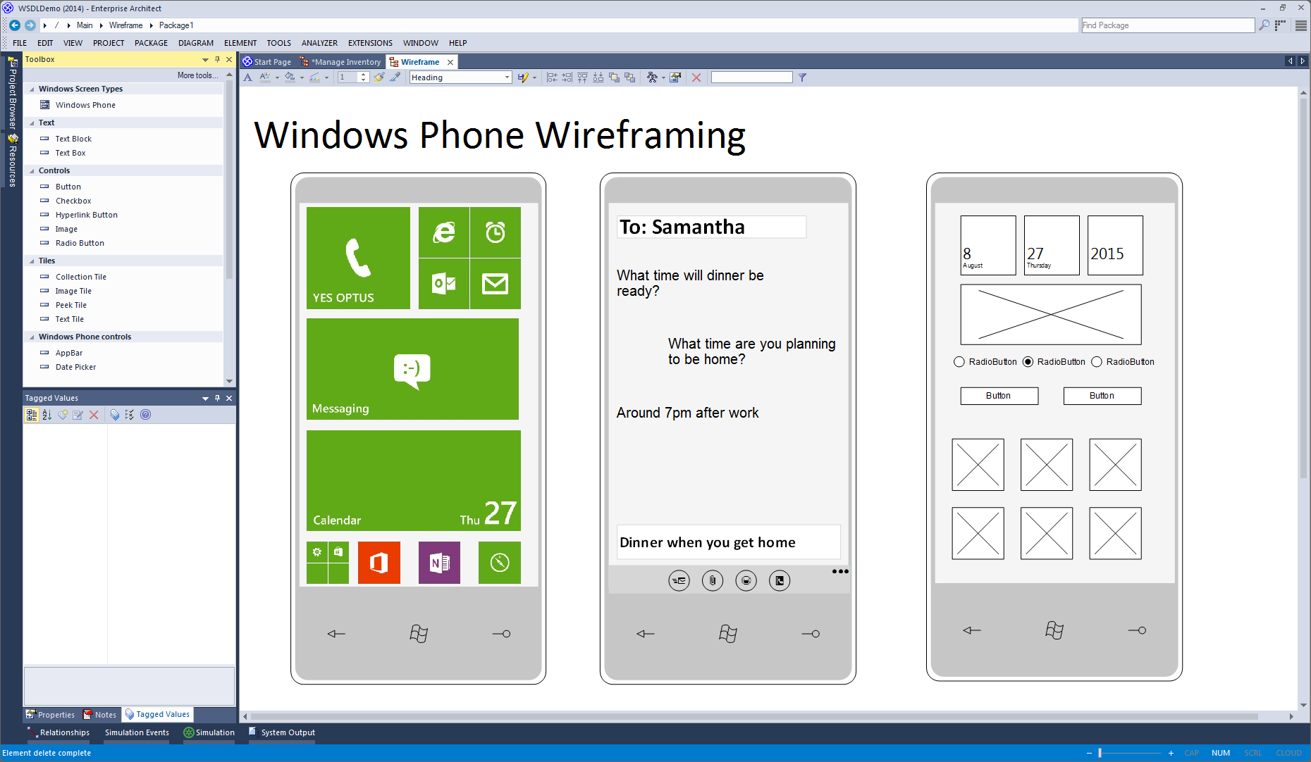 Enterprise Architect Professional Edition: Wireframing for Windows Phone